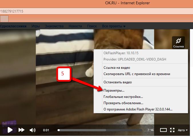 параметры программы Adobe Flash Player
